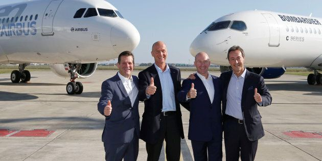 (L-R) Pierre Baudoin, Bombardier's chairman of the board, Tom Enders, president and chief executive officer...