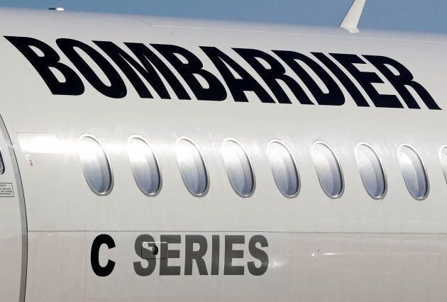 A Bombardier CSeries aircraft is pictured during a news conference to announce a partnership between...