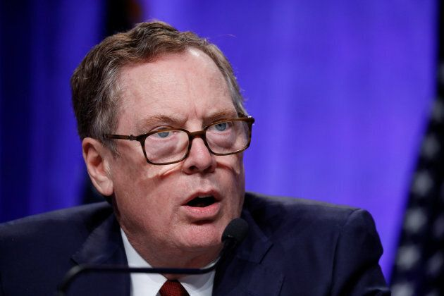 U.S. Trade Representative Robert Lighthizer speaks at a news conference prior to the inaugural round...