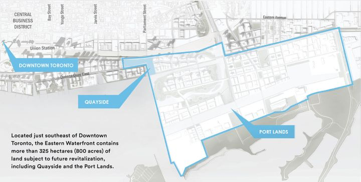 The planned location of Sidewalk Toronto on the city's eastern waterfront.