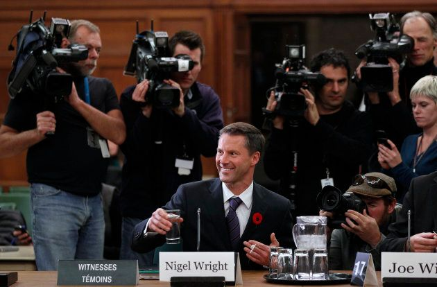 Nigel Wright, former chief of staff to prime minister Stephen Harper is shown at the Commons ethics committee...