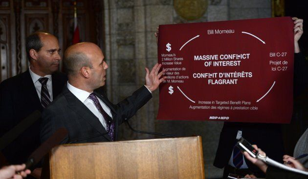 NDP MP Nathan Cullen, right, and NDP parliamentary Leader Guy Caron take part in a press conference in the foyer of the House of Commons on Oct. 17, 2017.