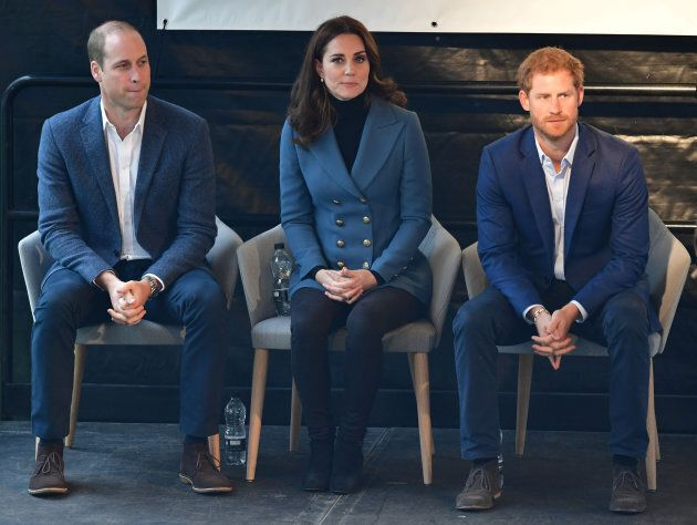 The Duke and Duchess of Cambridge and Prince Harry at West Ham United London Stadium, as they attend...