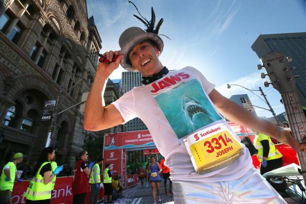 Joseph Reid said he got the idea of dressing up like Gord Downie after he saw some runners in costumes...