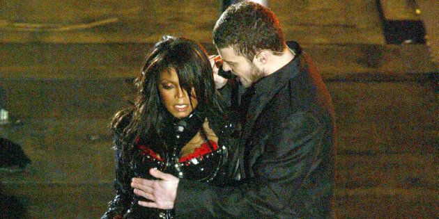 Janet Jackson and Justin Timberlake perform during the halftime show at Super Bowl
