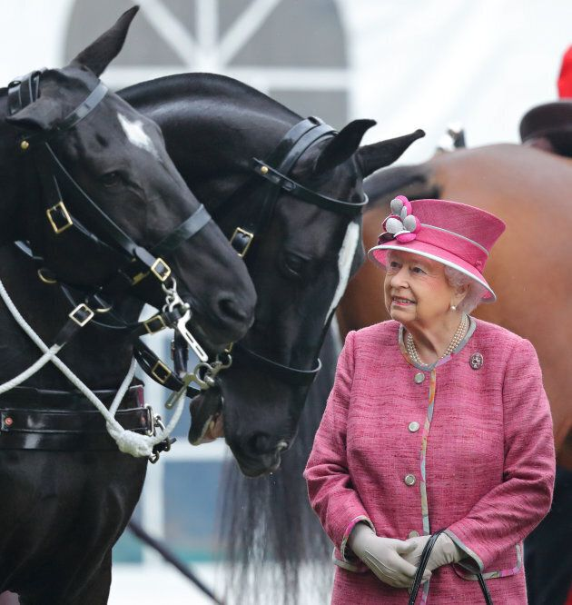 Queen Elizabeth II reviews the King's Troop Royal Horse Artillery during their 70th anniversary parade...
