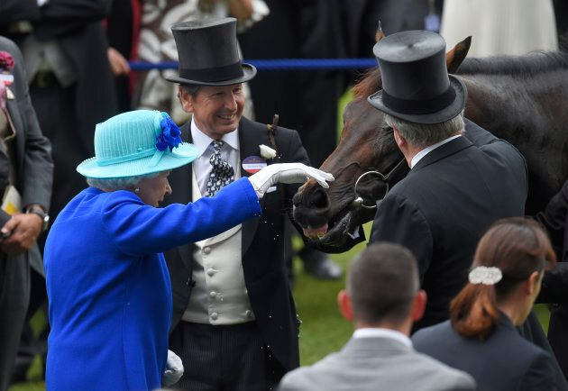 Queen Elizabeth pats her horse Dartmouth after winning the 3.40 Hardwicke Stakes