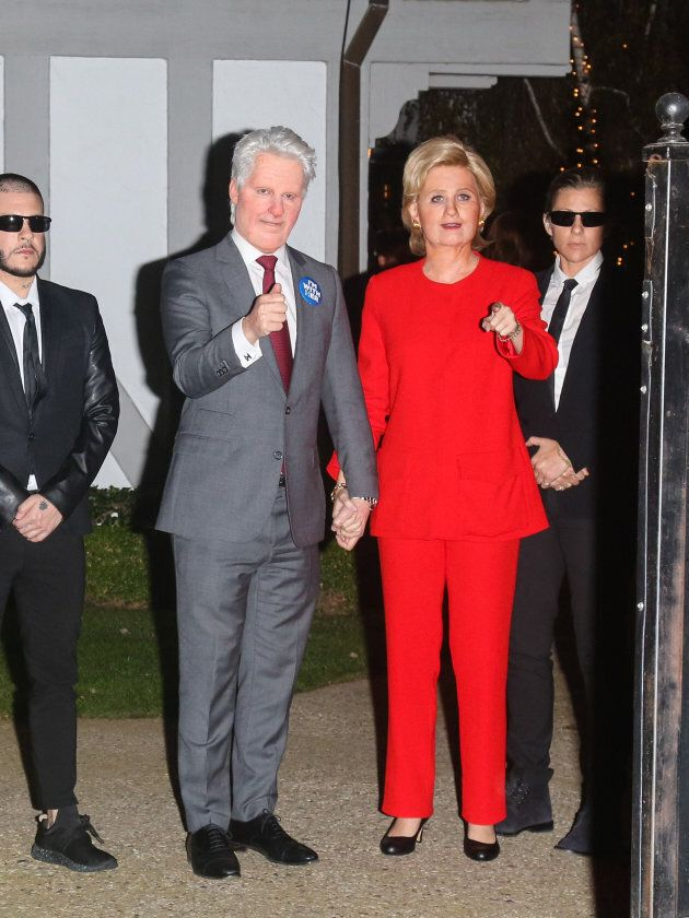 Katy Perry as Hillary Clinton at Kate Hudson's annual Halloween party on October 28, 2016 in Los Angeles,