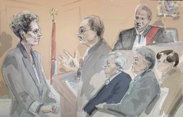 In this artist's sketch, Ontario Premier Kathleen Wynne is questioned by Crown Prosecutor Vern Brewer...