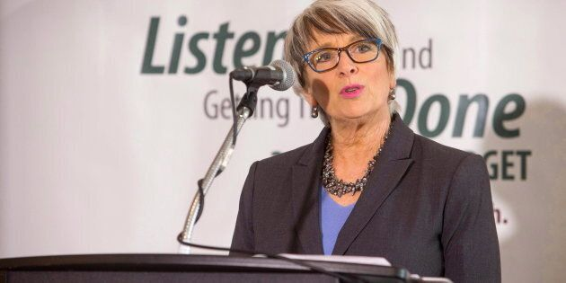 New Brunswick Finance Minister Cathy Rogers addresses media after officially releasing the 2017-2018...