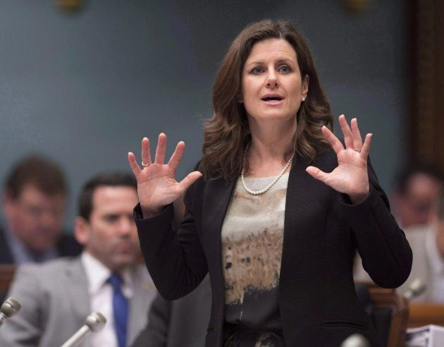 Quebec Justice Minister Stephanie Vallee responds to the Opposition during question period on May 16, 2017 at the legislature in Quebec City, where she addressed the framework of how the government's controversial Bill 62 will be implemented.