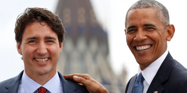 Former U.S. president Barack Obama and Prime Minister Justin Trudeau at the North American Leaders' Summit...