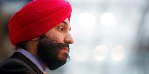Innovation Minister Navdeep Bains speaks in Toronto on Dec. 12,