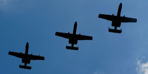 A-10 Warthogs planes perform a flyover on Aug. 15, 2010 in Brooklyn,