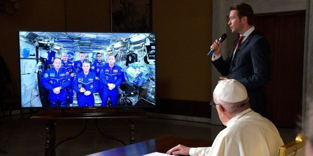 Pope Francis connects to the crew aboard the International Space Station from the Vatican on