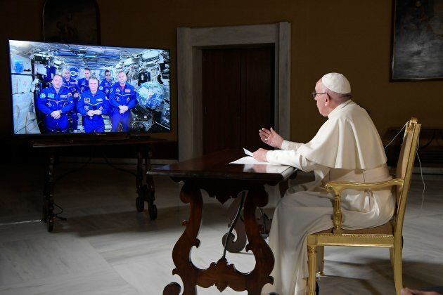 Pope Francis' conversation on Thursday marked the second papal phone call to space: Pope Benedict XVI...