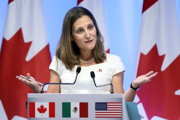 Foreign Minister Chrystia Freeland speaks to media in Mexico City on Sept. 5,