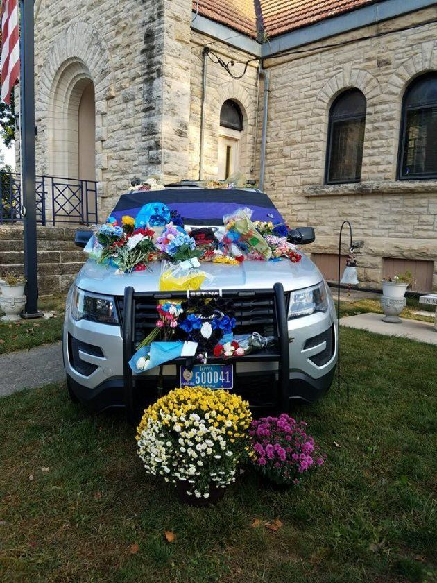The Anamosa Police Department decked out this vehicle honoring officer Mitch Kelchen in Anamosa, Iowa on Sept. 8, 2017.