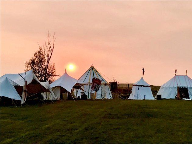 The Good Knights Medieval Encampment where guests sleep in medieval-style tents, near Three Hills,