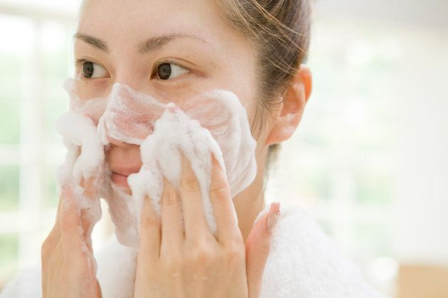 Dermatologists recommend a gentle cleanser.