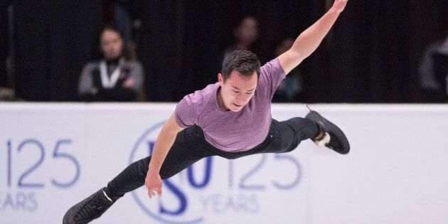 Patrick Chan goes through his routine during a practice session at Skate Canada International in Regina...