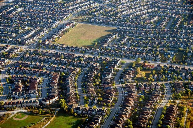 An aerial photo of a suburban neighbourhood in Toronto. Sales of pre-construction low-rise homes have...