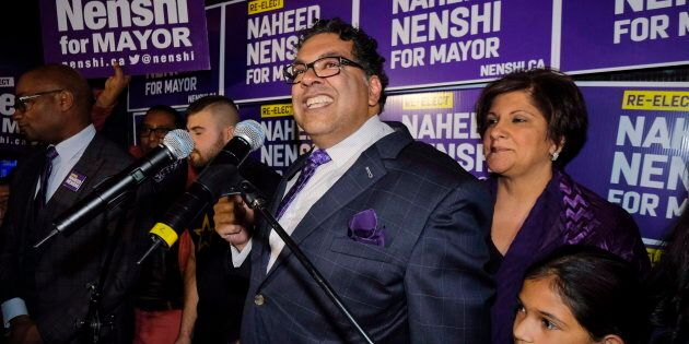 Naheed Nenshi celebrates his victory as Calgary's mayor following municipal elections in Calgary, Alta.,...