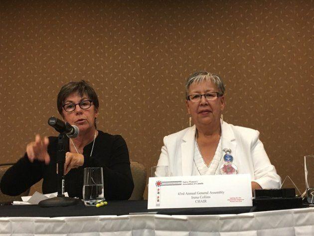 Sen. Kim Pate, left, sitting next to Sen. Lillian Dyck at the AGA of Native Women's Association of Canada...
