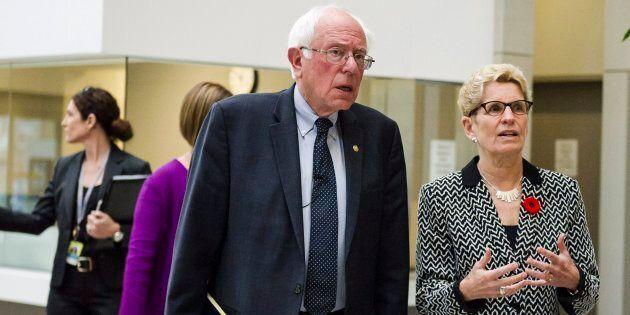 U.S. Sen. Bernie Sanders meets Ontario Premier Kathleen Wynne on a visit to the Women's College Hospital...