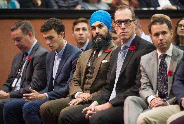 NDP Leader Jagmeet Singh listens to U.S. Senator Bernie Sanders at the University of Toronto on Oct....