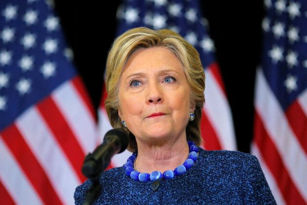 Hillary Clinton holds an unscheduled news conference to talk about FBI inquiries into her emails after a campaign rally in Des Moines, Iowa, on Oct. 28, 2016.