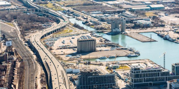 A bird's-eye view of the eastern waterfront in Toronto where Quayside will be