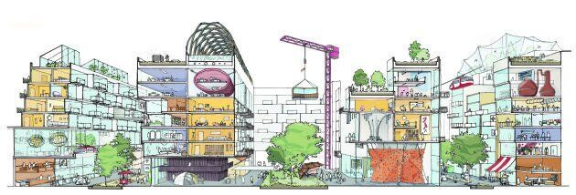 Quayside concept, mixed-use buildings.