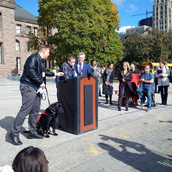 A rally was held at Queen's Park on Oct. 27 to protest the lack of support for kids with autism.