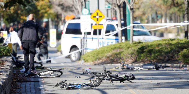 Multiple bikes were crushed after a vehicle drove onto a popular bike path in lower Manhattan in New...