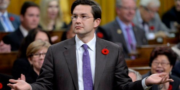 Conservative MP Pierre Poilievre asks a question during question period in the House of Commons, in Ottawa...