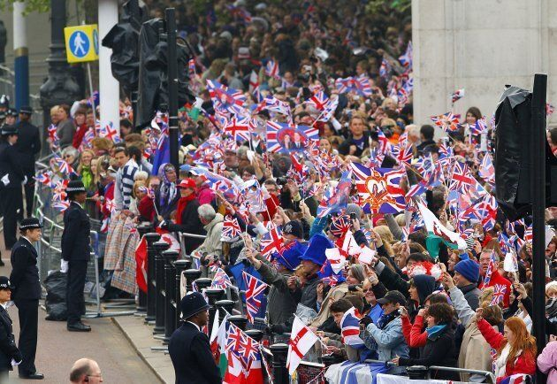 Crowds gather on the mall prior to the wedding of Prince William and Kate