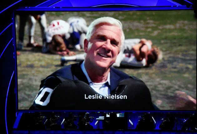 A picture of actor Leslie Nielsen is displayed during an homage during the 83rd Annual Academy Awards,...