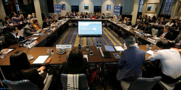 The first session of the three-day Trans Pacific Partnership senior leaders' meeting begins in Sydney, Australia, Aug. 28.  A new poll finds that, for the first time, a majority of Canadians backs the TPP.
