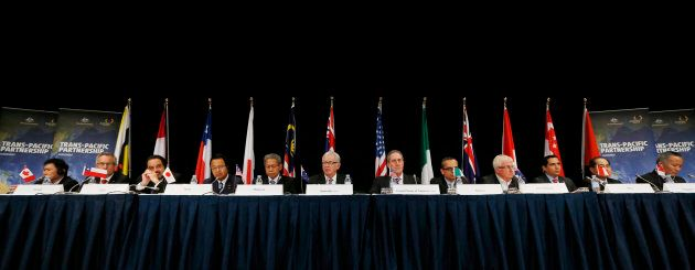 Trade ministers from TPP countries at a news conference at the end of the a TPP meeting in Sydney, Australia,...