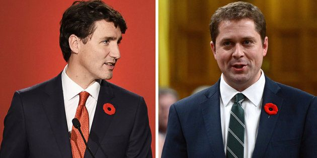 Conservative Leader Andrew Scheer, right, says Prime Minister Justin Trudeau's support for a recent speech...