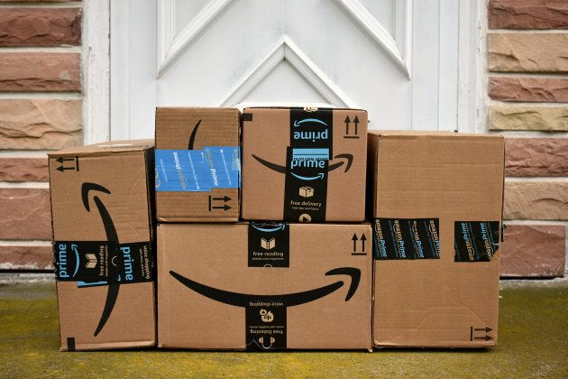 A collection Amazon packages on display in Hagerstown, Md., on May 5,