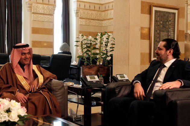 Lebanese Prime Minister Saad Hariri, right, meets with Saudi Arabia's Arab Gulf Affairs Minister Thamer...