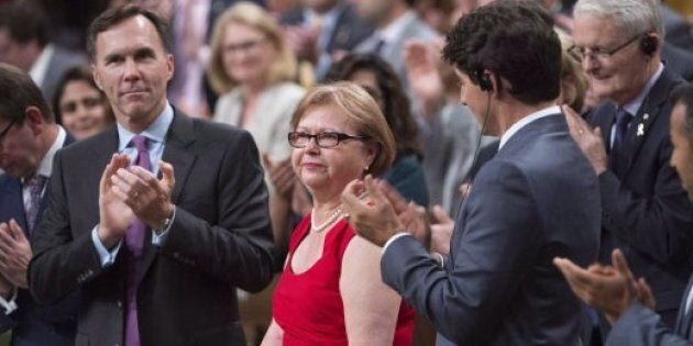 Liberal MP Judy Foote is given a standing ovation by members of Parliament as they pay tribute to her...