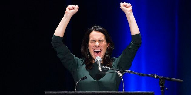 Valerie Plante speaks to supporters after being elected mayor of Montreal during the municipal election...