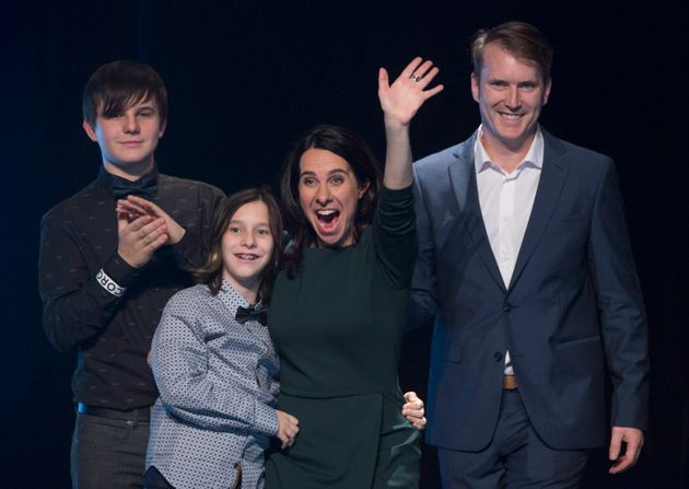 Valérie Plante with husband Pierre-Antoine Harvey, right, and their two sons after Plante was elected...