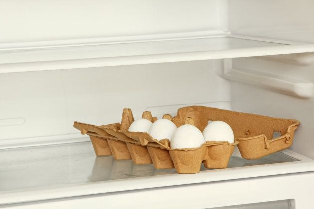 Eggs should be in the main part of the fridge, albeit, with the carton closed over top of them.