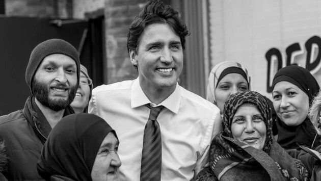 Prime Minister Justin Trudeau, lauded as a global champion today for refugees by UNHCR, poses with Canadian...