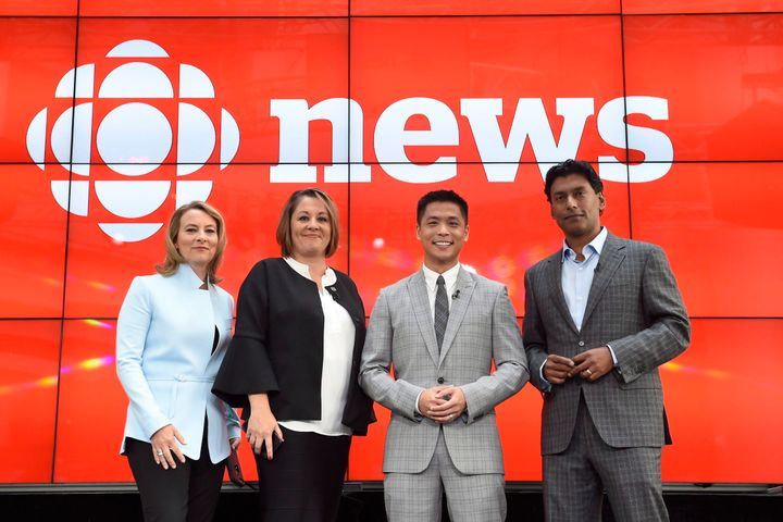 """Adrienne Arsenault, Rosemary Barton, Andrew Chang and Ian Hanomansing (left to right) are named the new hosts of """"The National,"""" at a news conference in Toronto, Tuesday, Aug. 1, 2017."""