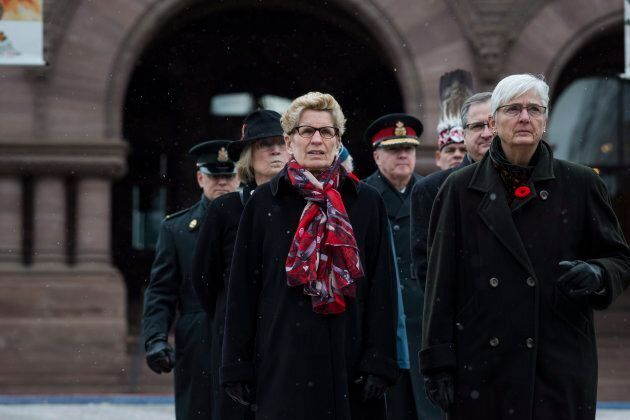 Kathleen Wynne attends a Remembrance Day service at Queen's Park in